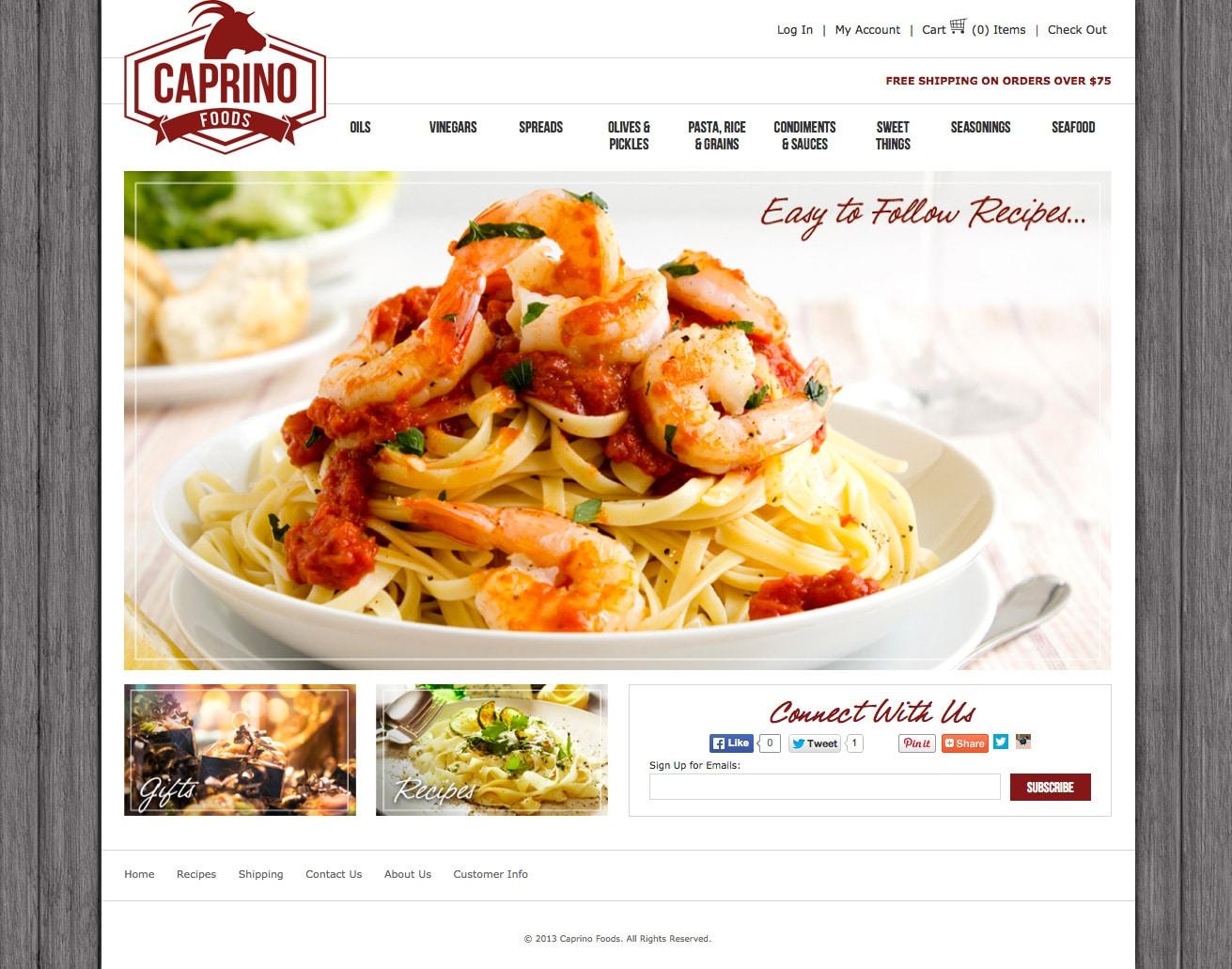 Caprino foods web design ct website design connecticut for Cuisine website