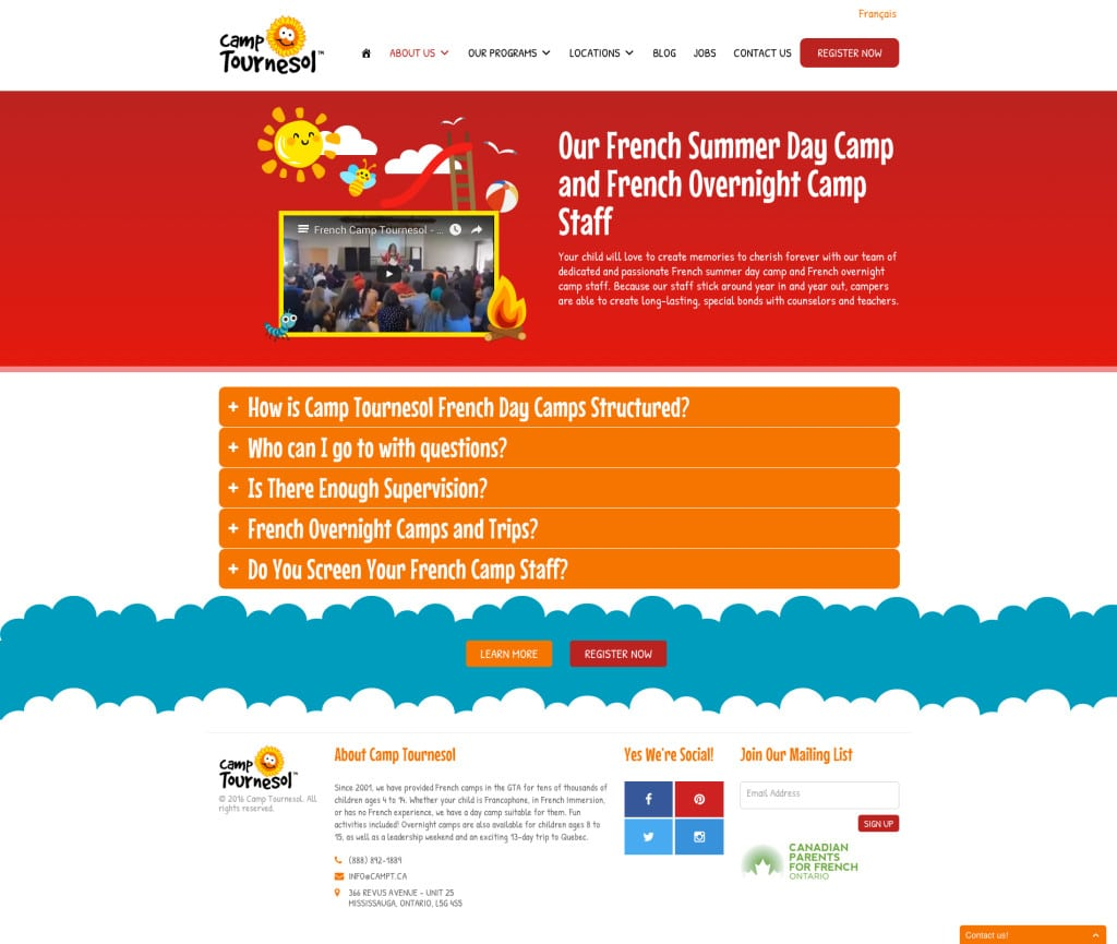 Camp Tournesol Wordpress Website Design - KStudioFX