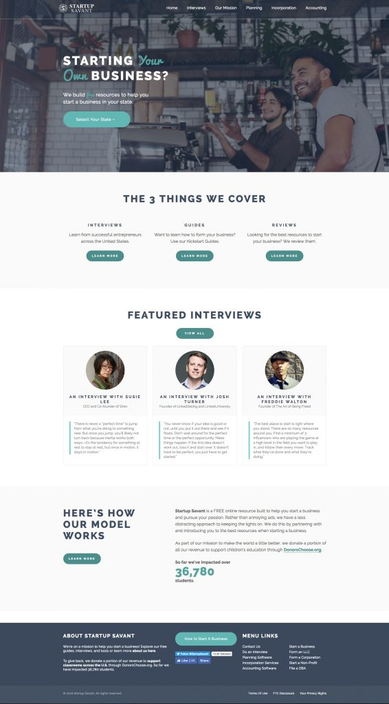 Startup Savant Wordpress Website Design - KStudioFX